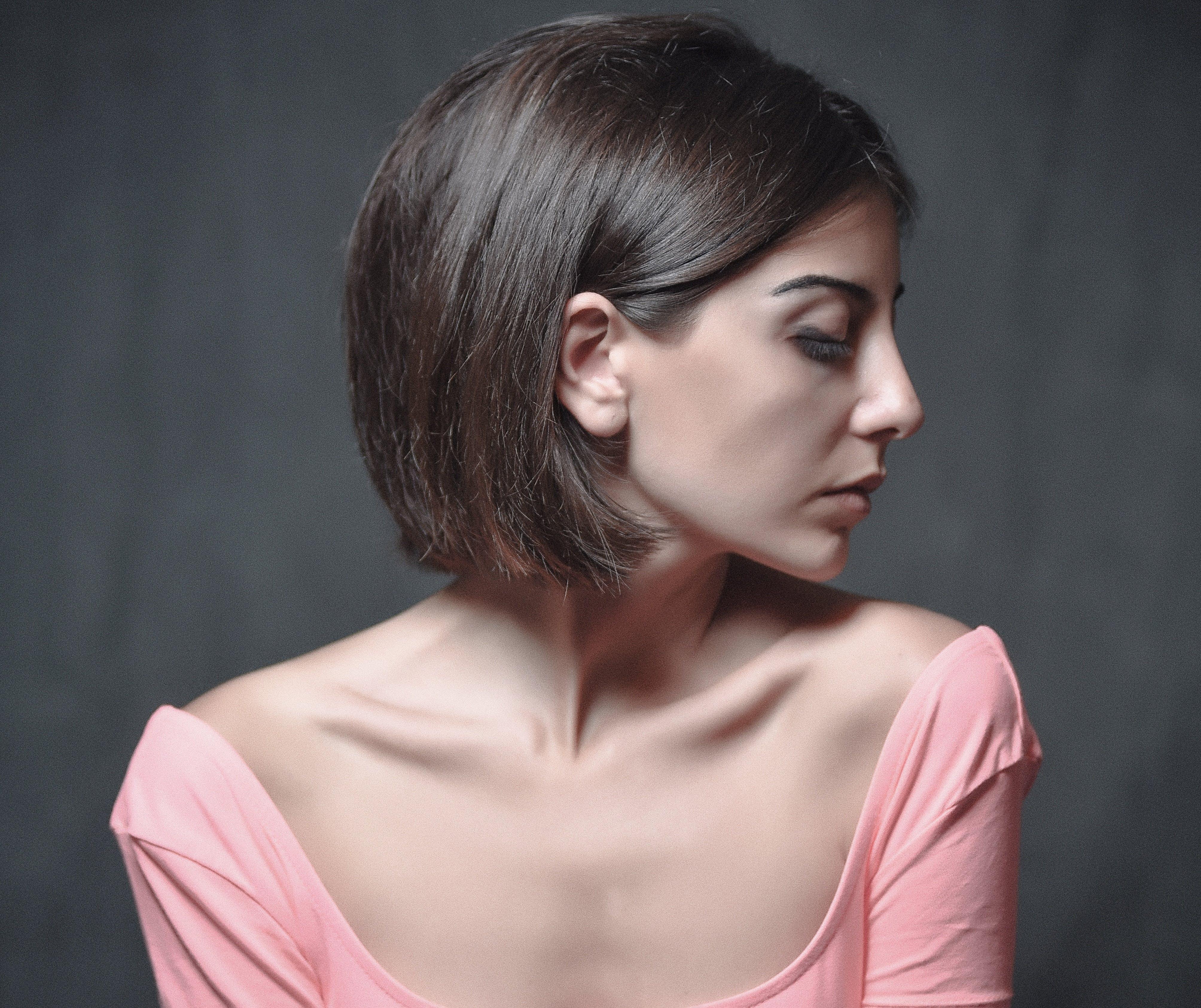 Woman Wearing Pink Scoop Neck Shirt