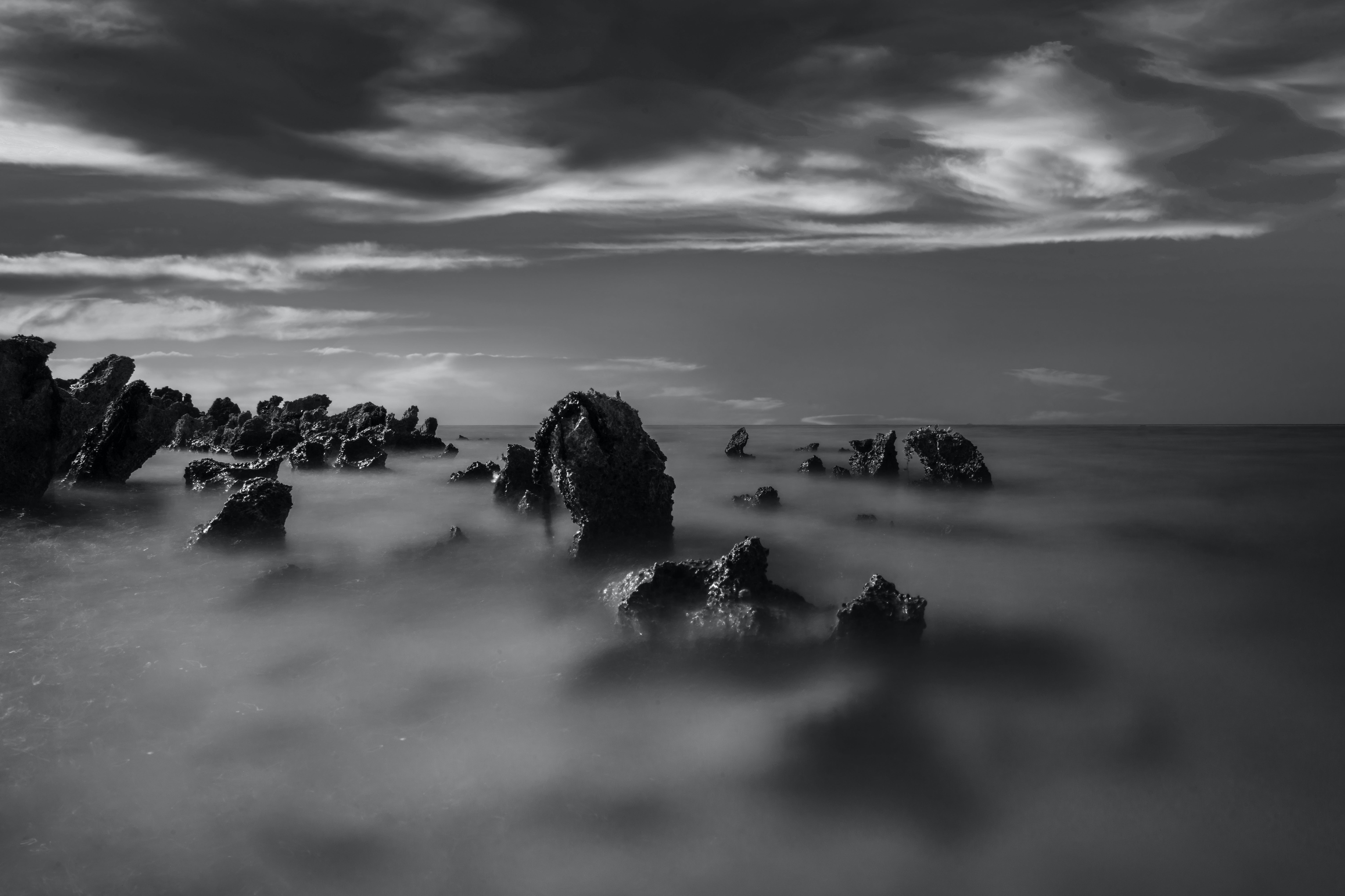 Rocks Covered With Fog