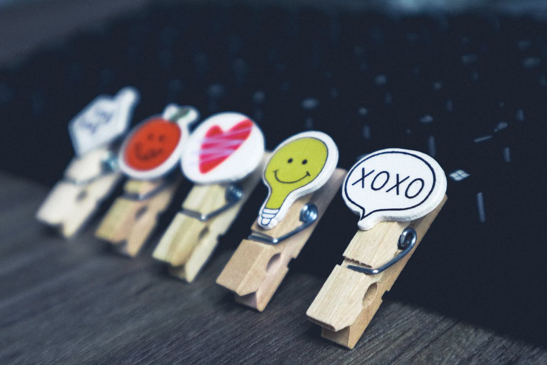 Five Wooden Clothes Pins