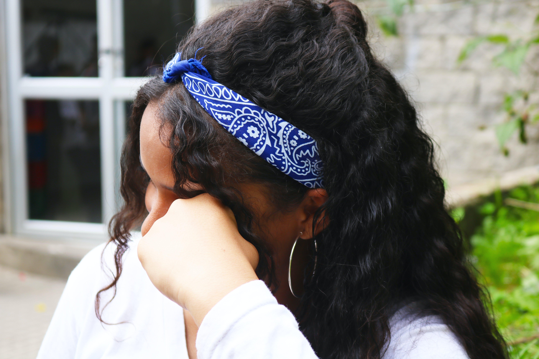 Free stock photo of hair, kerchief, shy, woman