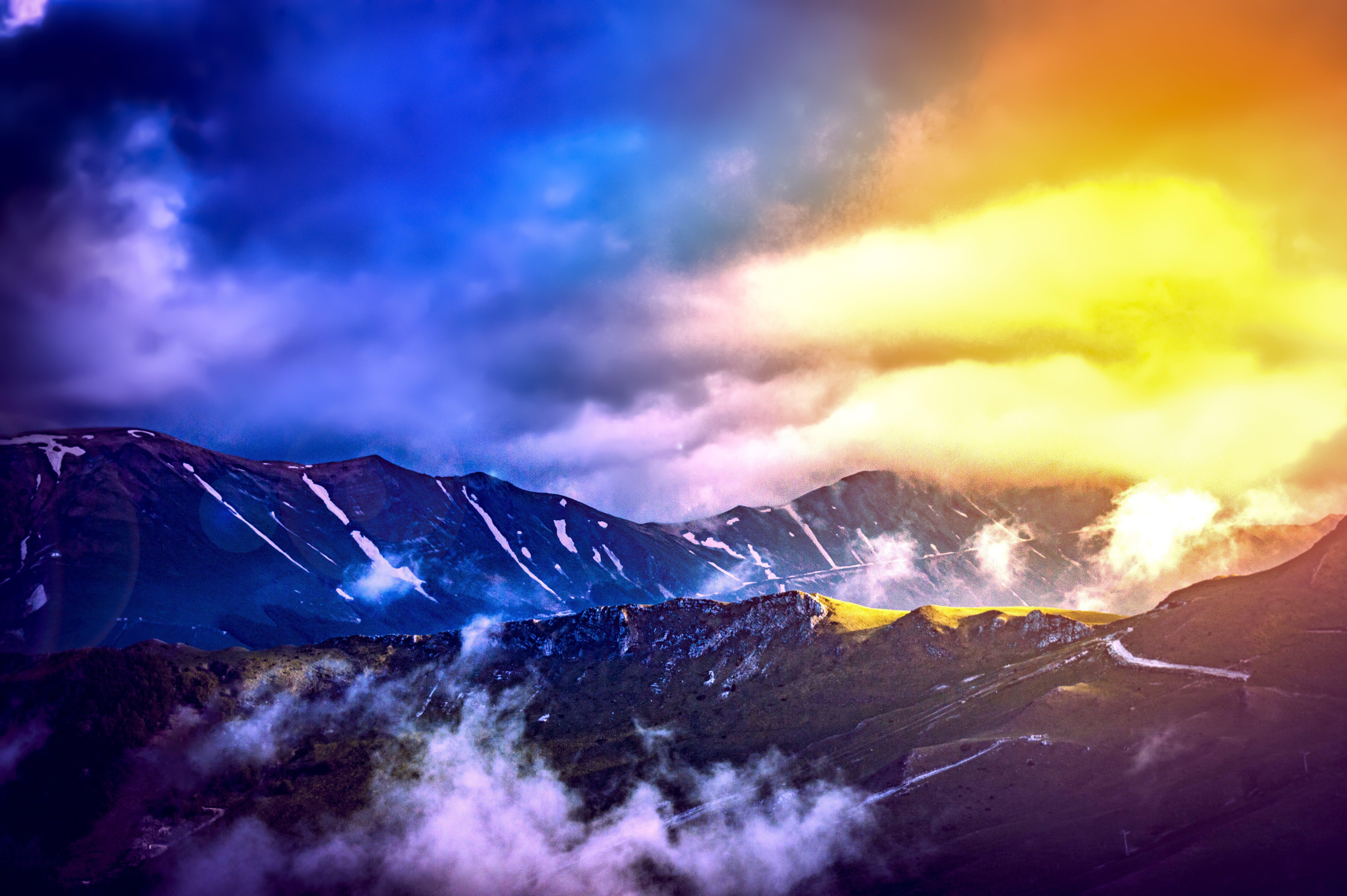 Kostnadsfri bild av berg, Sol, solnedgång