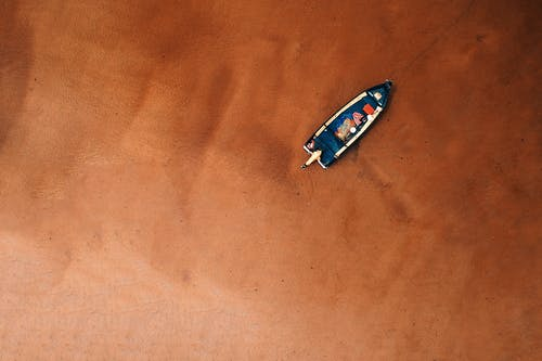 Bird's Eye View Of Boat On Seashore