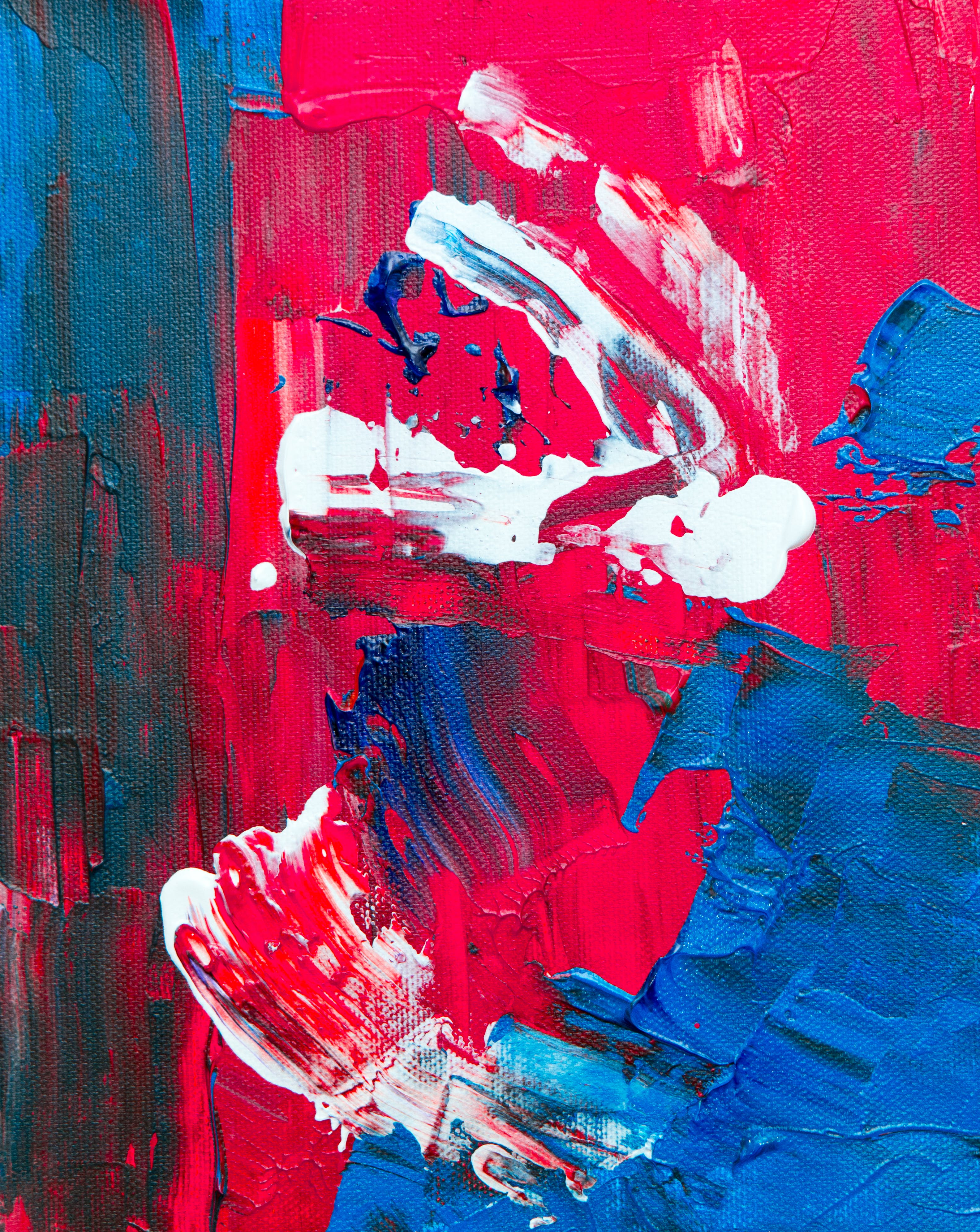Red, White, And Blue Abstract Painting
