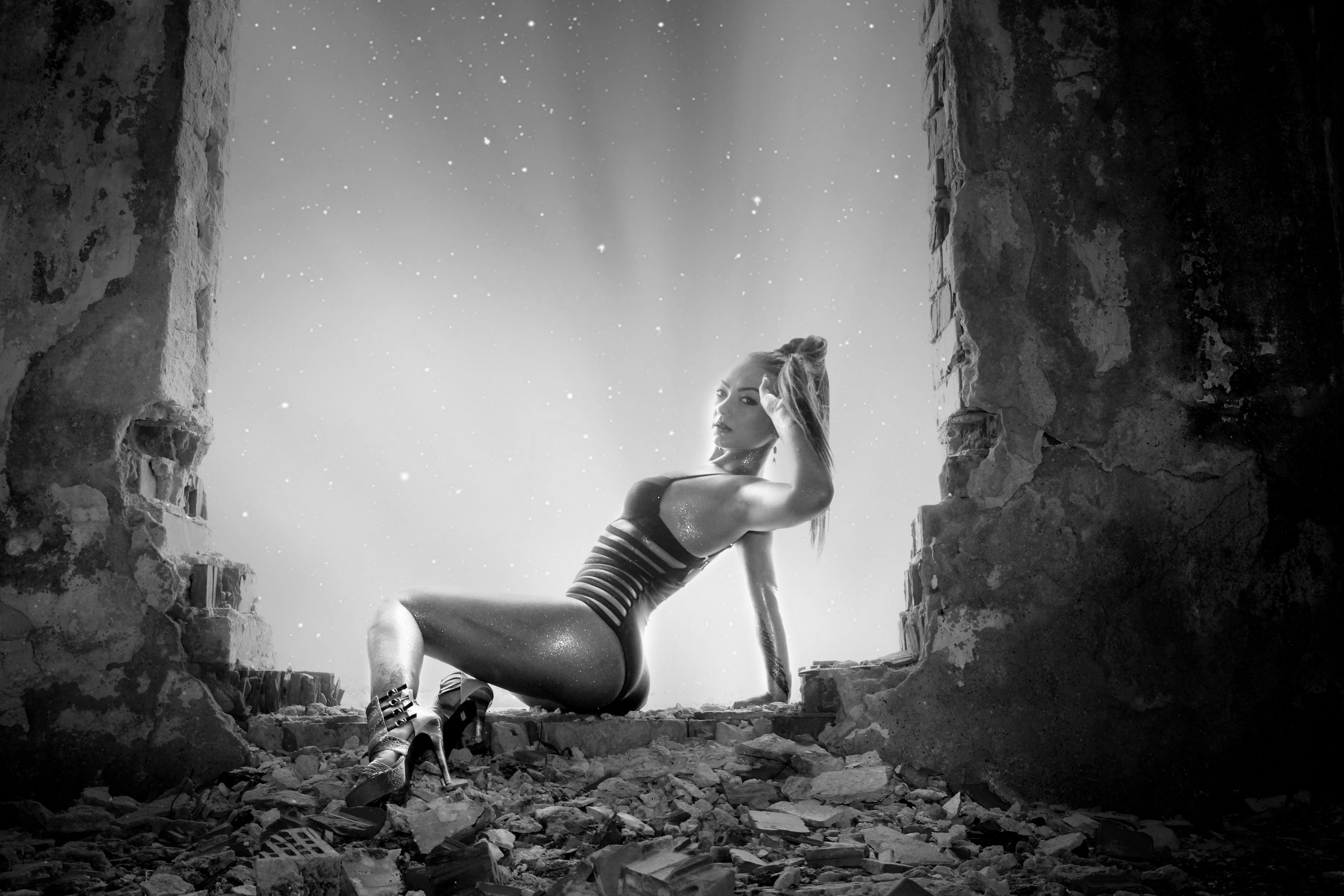 Free stock photo of girl, shoes, ruins, swimsuit