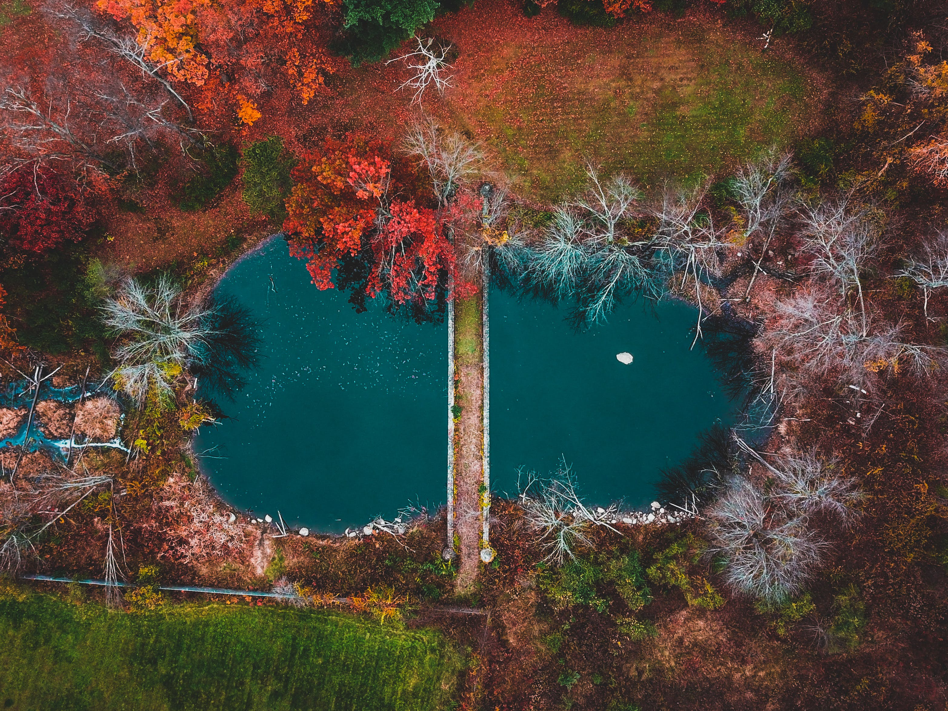 Top View of Bridge Across Body of Water