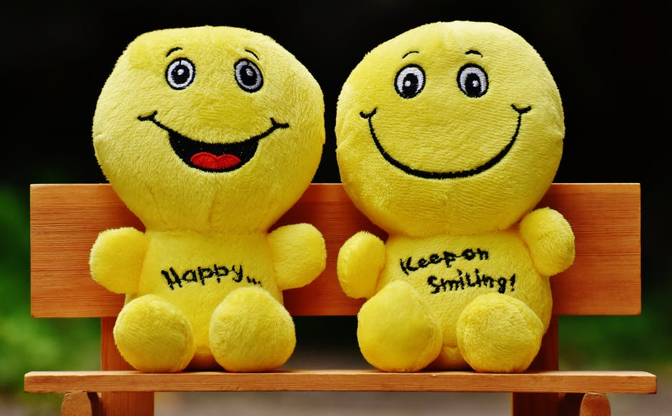 Two Yellow Plushtoy on Brown Bench