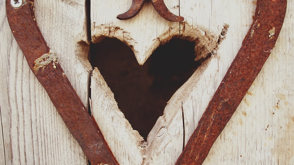 Beige Wooden Heart Hole