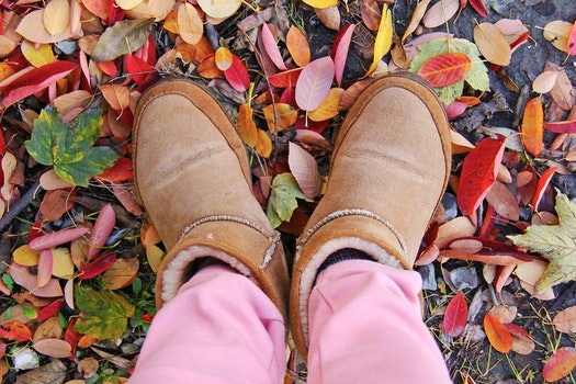 Person in Brown Sheepskin Boots and Pink Pants Standing on Leaf Covered Ground