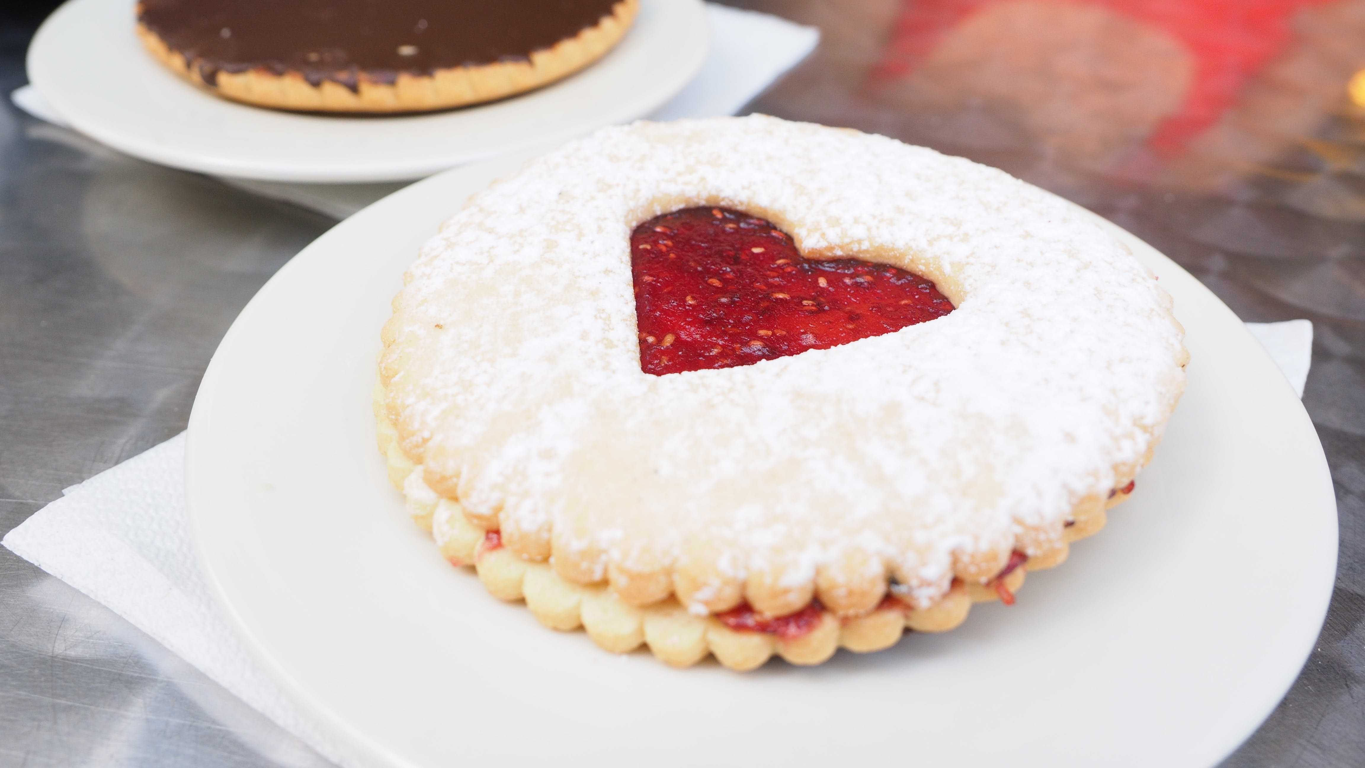 Round Biscuit With Heart Jelly in Center