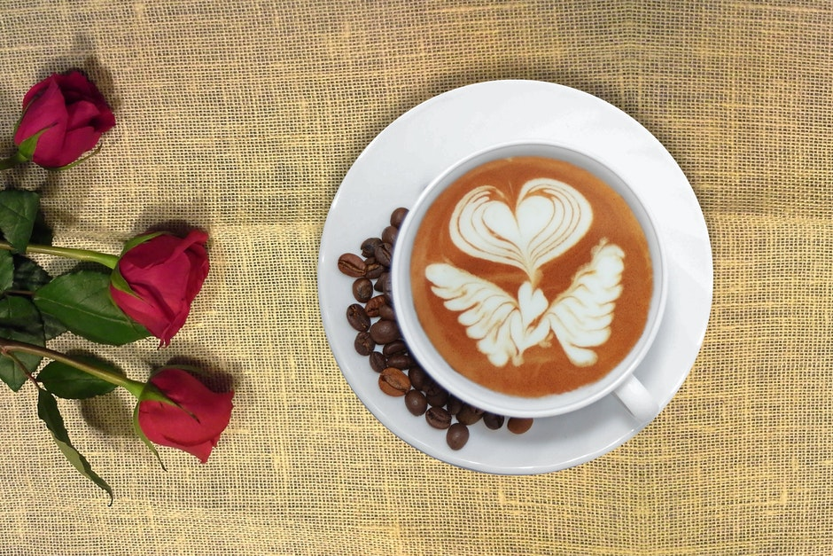 Cup Of Coffee In Distance With Red Rose 183 Free Stock Photo