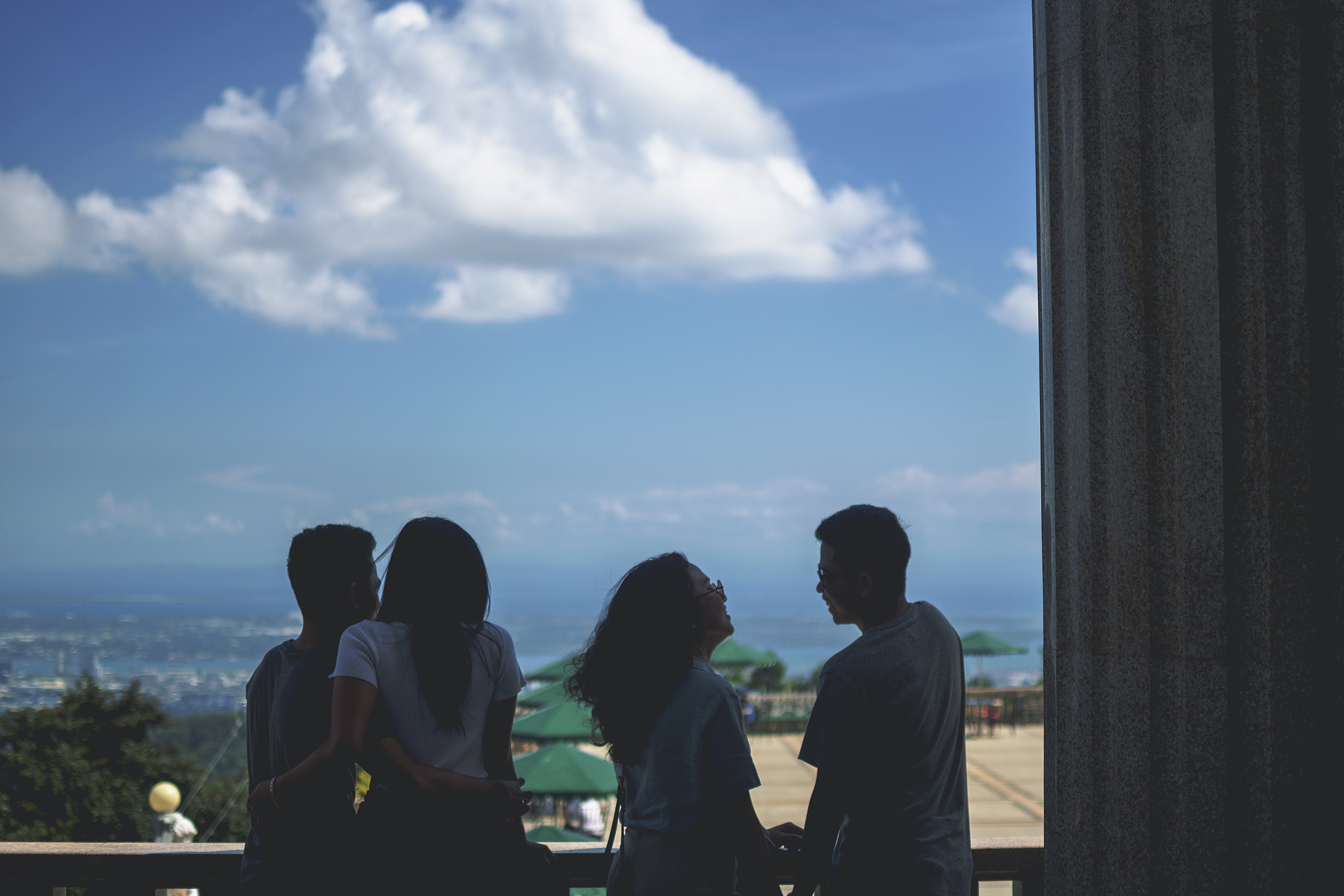 Free stock photo of blue skies, couples, laughing, moody