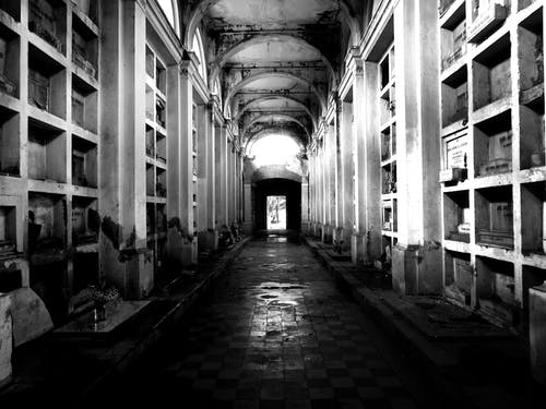 Grayscale Photo of Cemetery Hall
