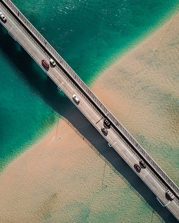 circulation, d'en haut, mer