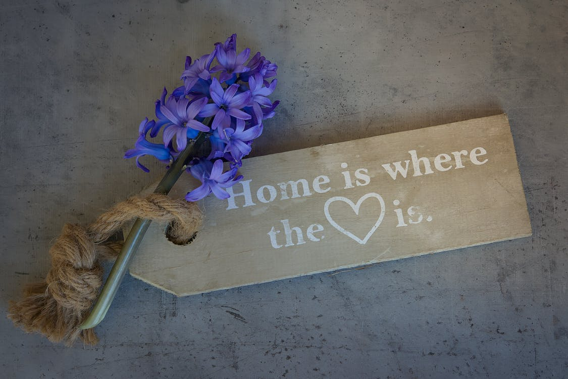 Home Is Where the Heart Is Quote Decor With Lavender