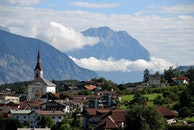 city, landscape, mountains
