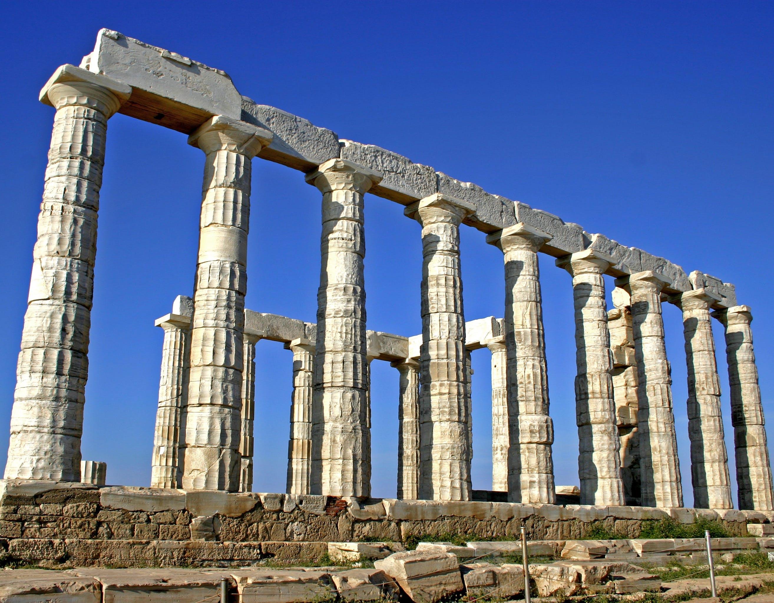 Foto stok gratis Arsitektur, batu, kuil poseidon, kuno
