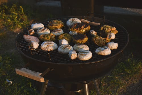 Assorted Grilled Food on Black Grill