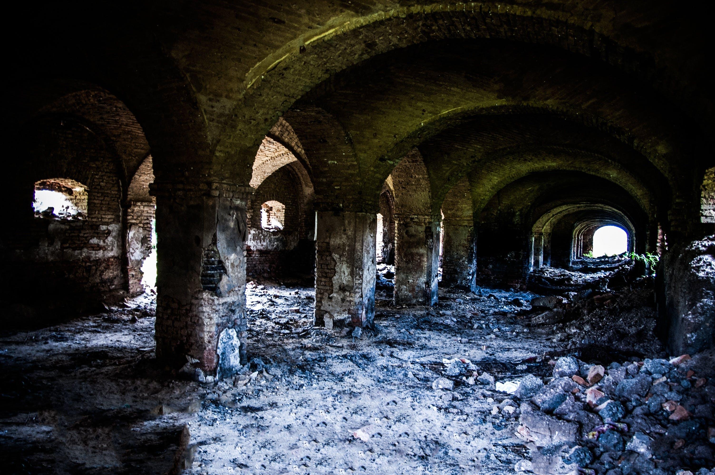 abandonado, arcadas, Arches