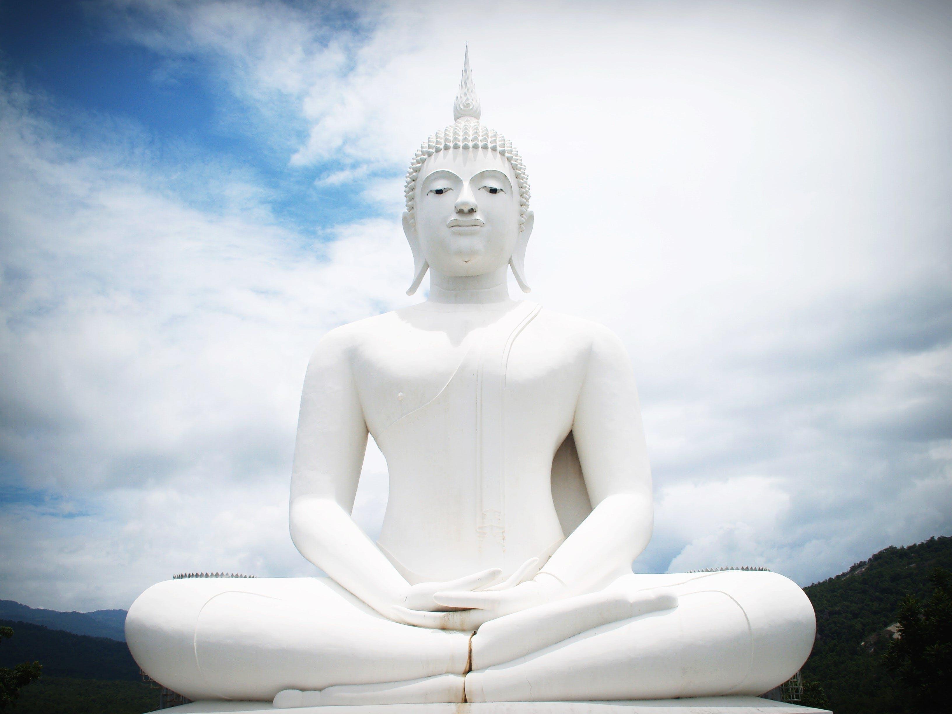White Concrete Buddha Statue
