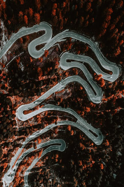 Aerial photography of zig zag road