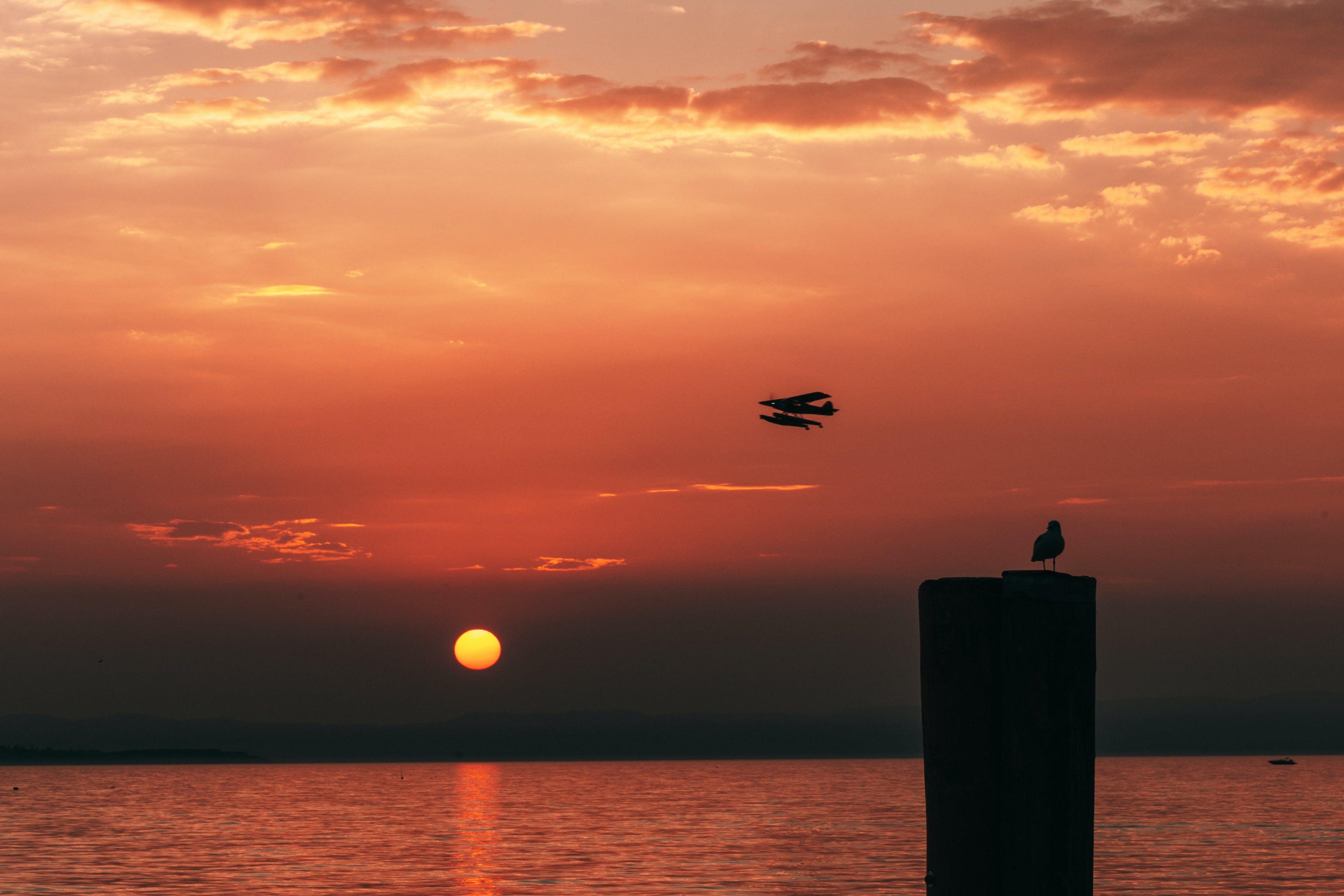 Silhouette Of Seaplane