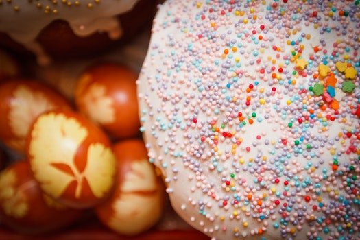Doughnut Near Orange and White Egg