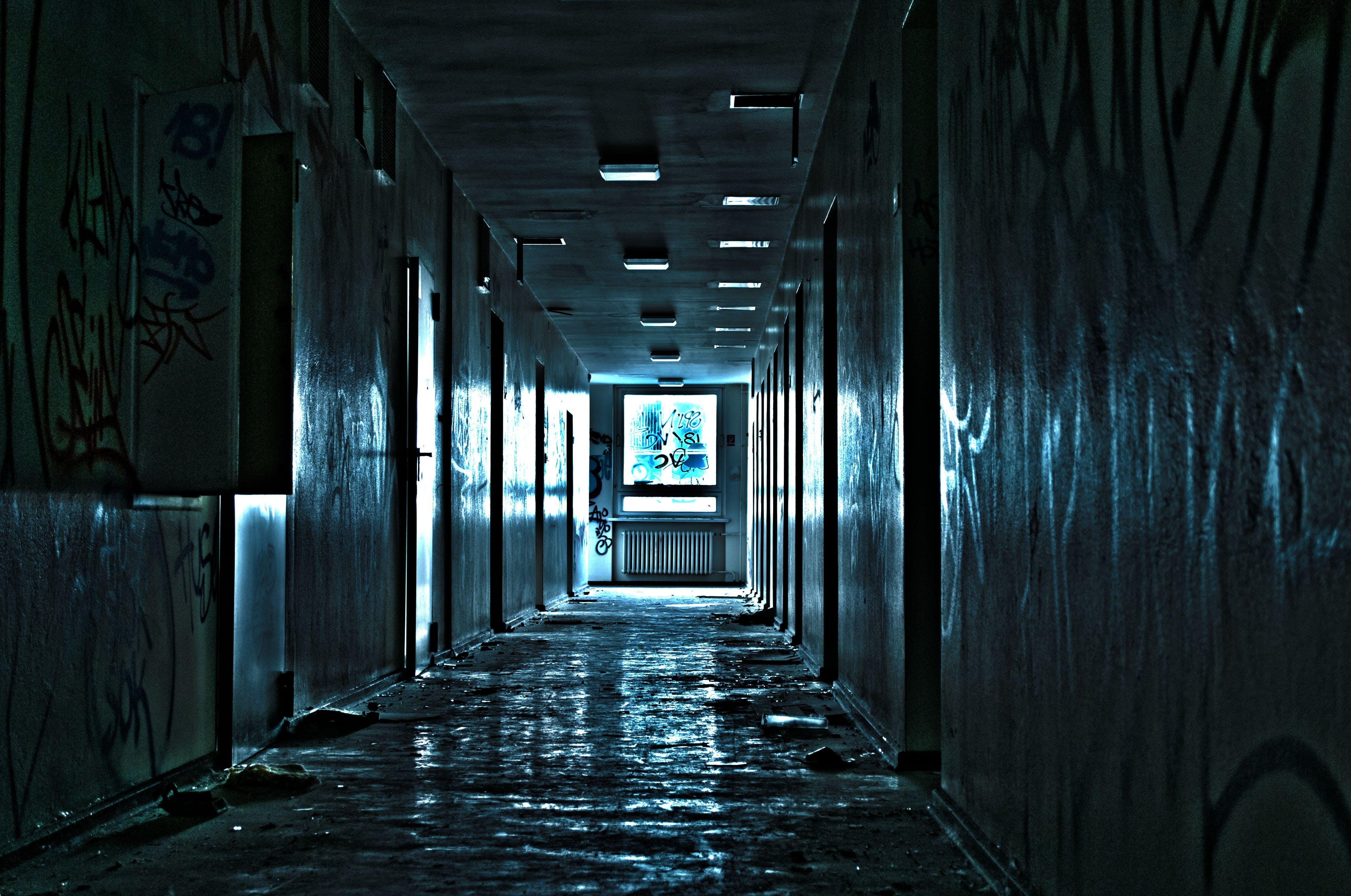 Empty Gray Hallway