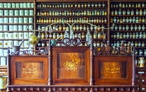 wood, bar, bottles