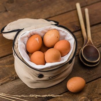 Beige Egg Inside a White Bag