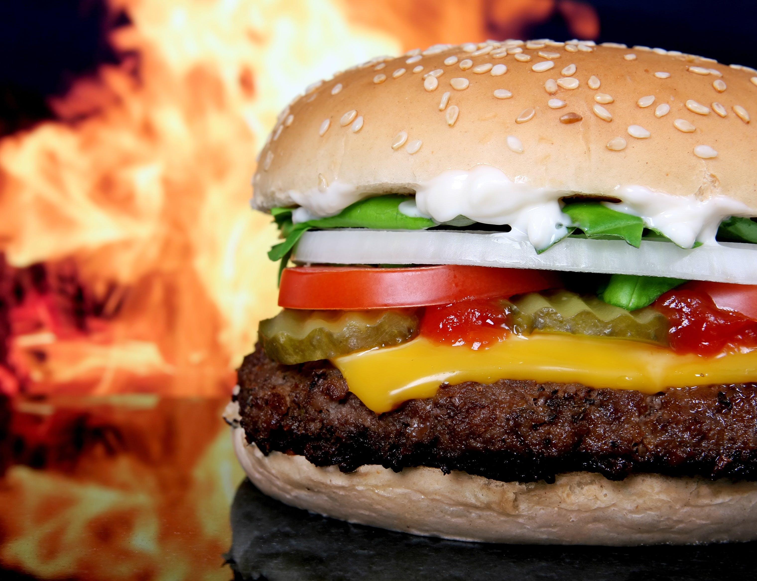 Kostenloses Stock Foto zu abendessen, burger, essen, flamme