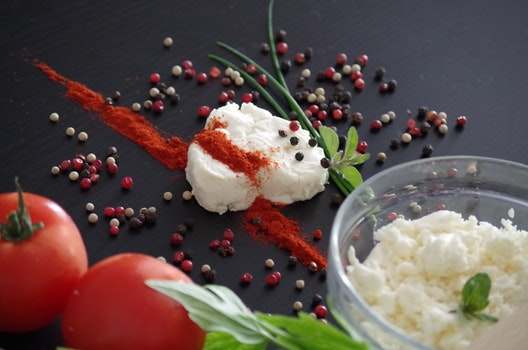 Red Tomato Near White Cream With Spices