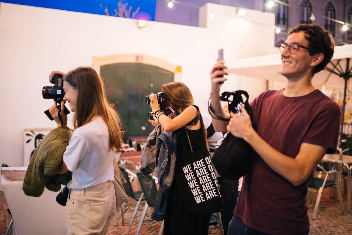 festiwal, fotografowie, kamery