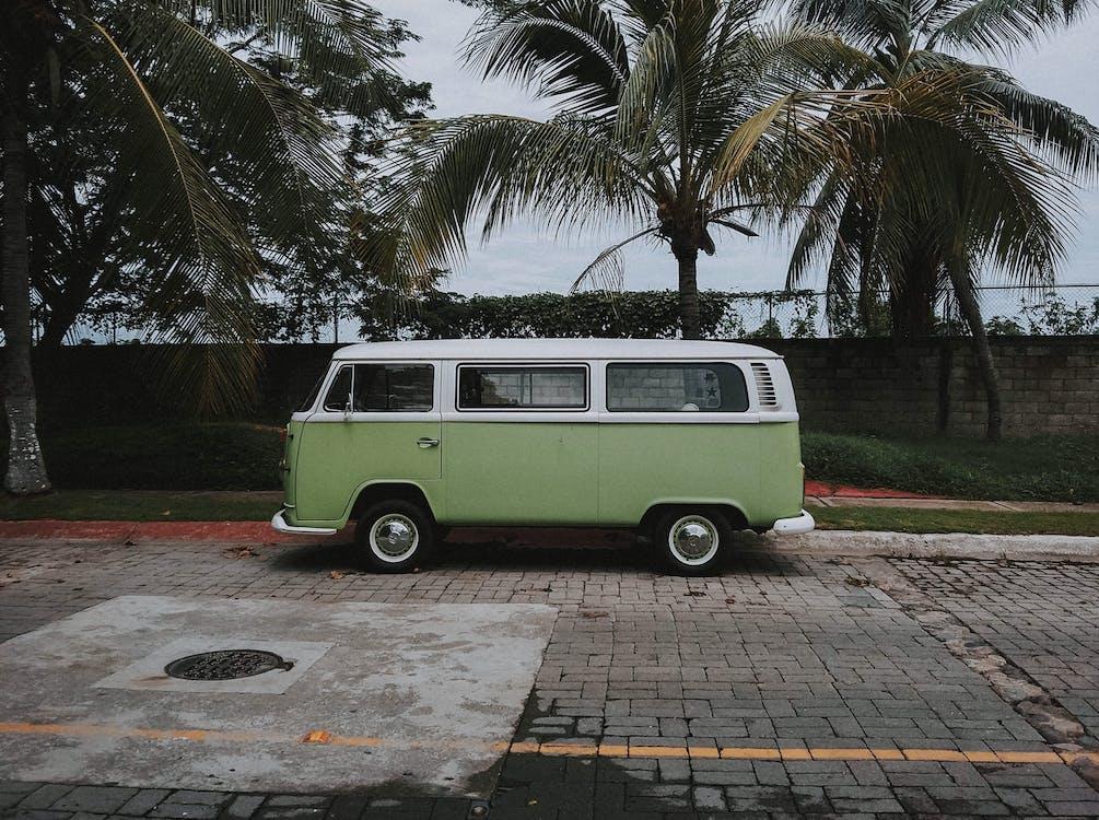 Green Volkswagen Transporter Van Parked Under Coconut Trees