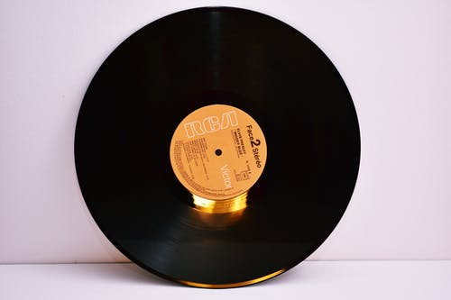 Yellow and Black Vinyl Disc Record