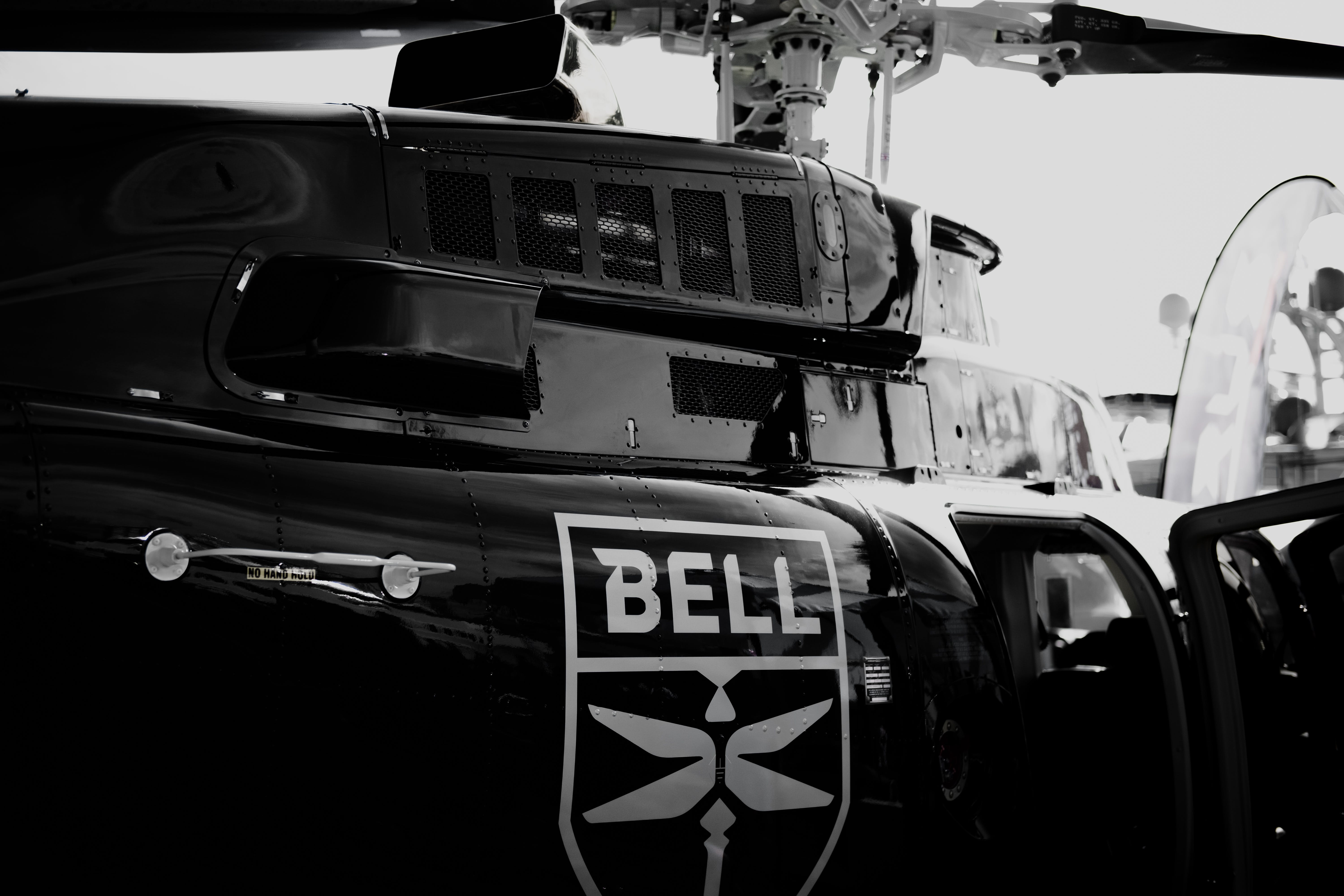 Grayscale Photo of Bell Helicopter