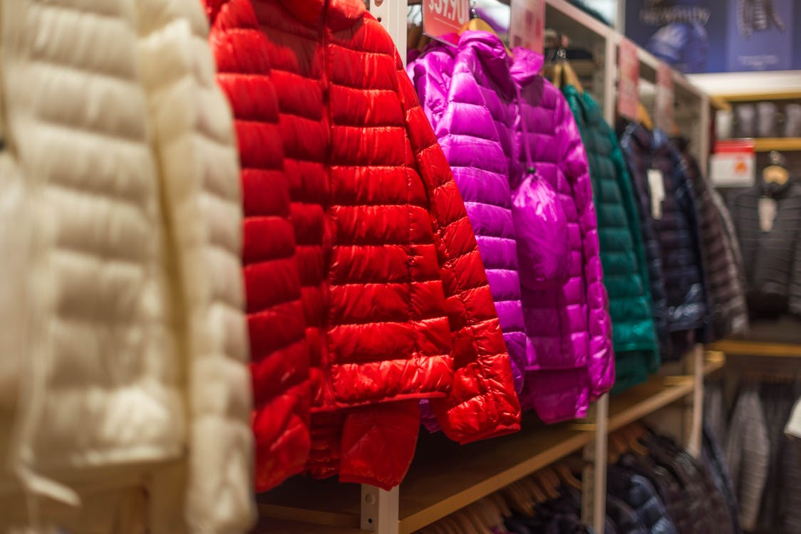Assorted-color Bubble Jackets Hanged