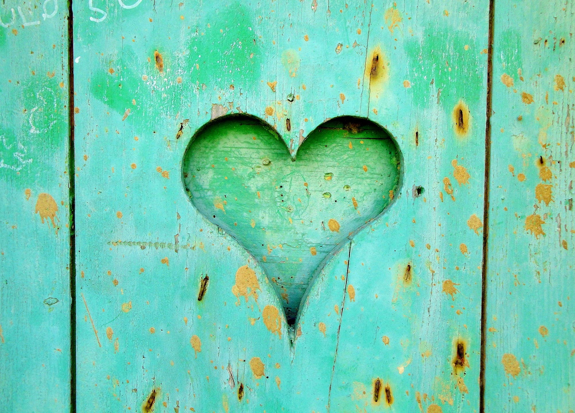 Green Wooden Board With Heart Hole