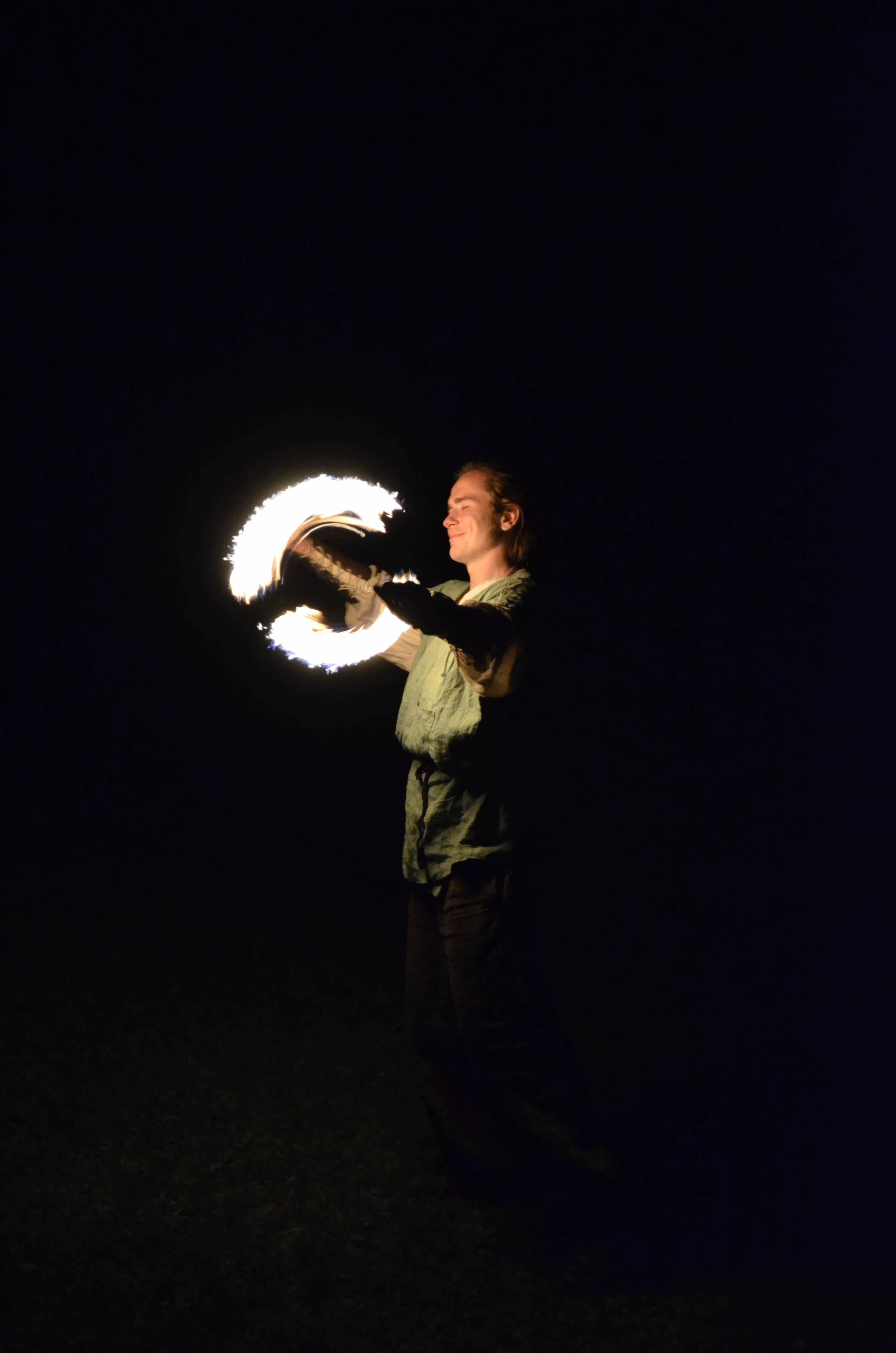 Man Standing While Playing With Fire At Night