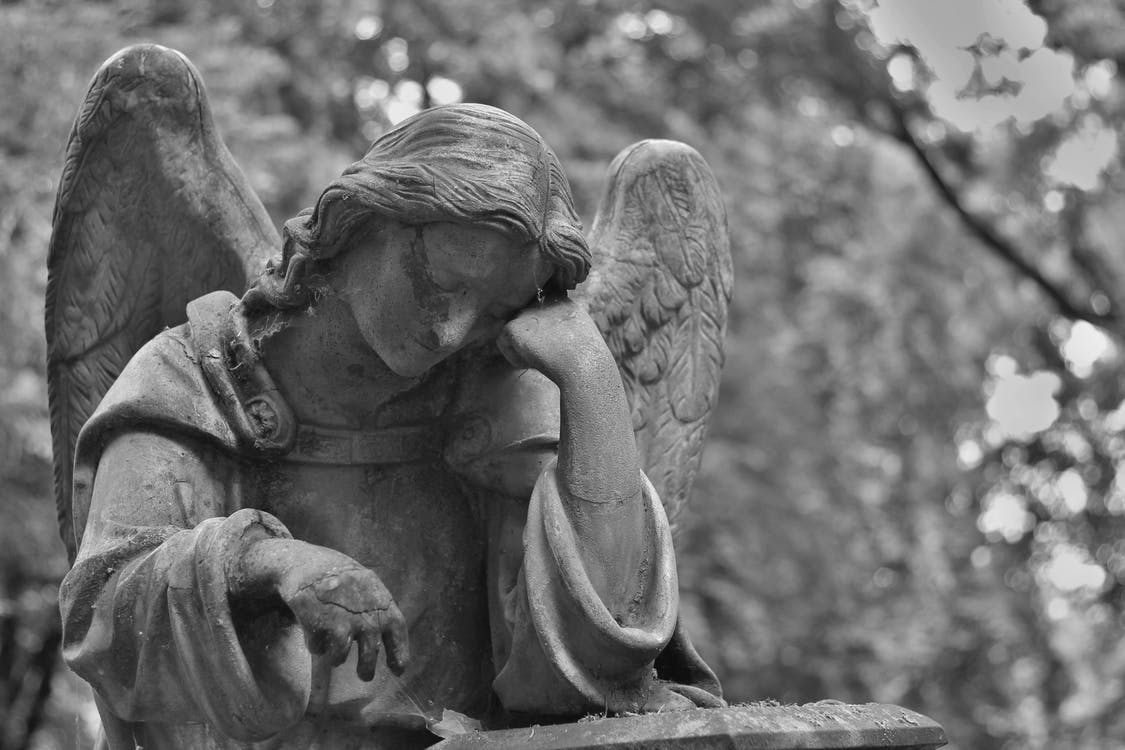angel, black-and-white, cemetery