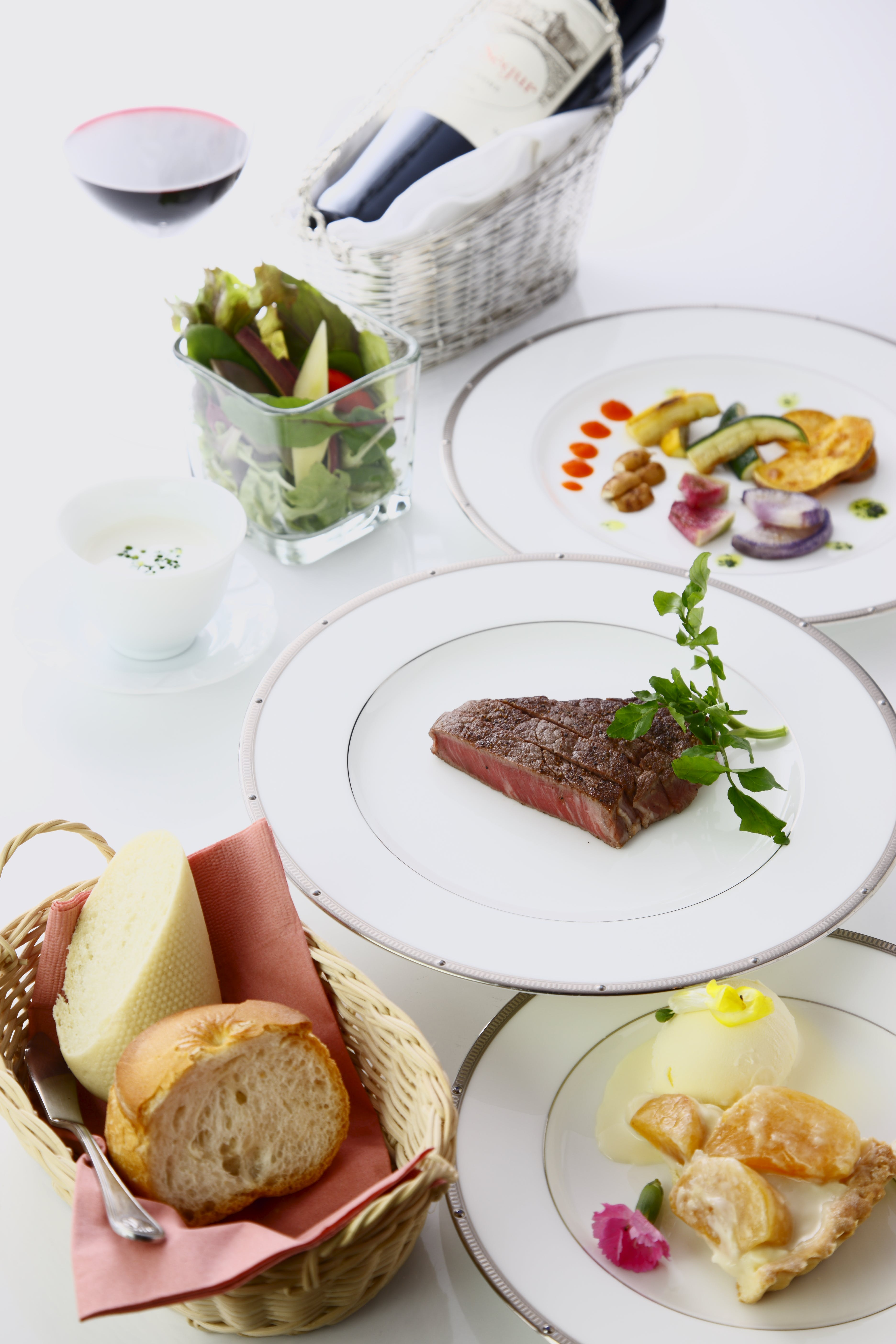 Plated Dishes On White Surface