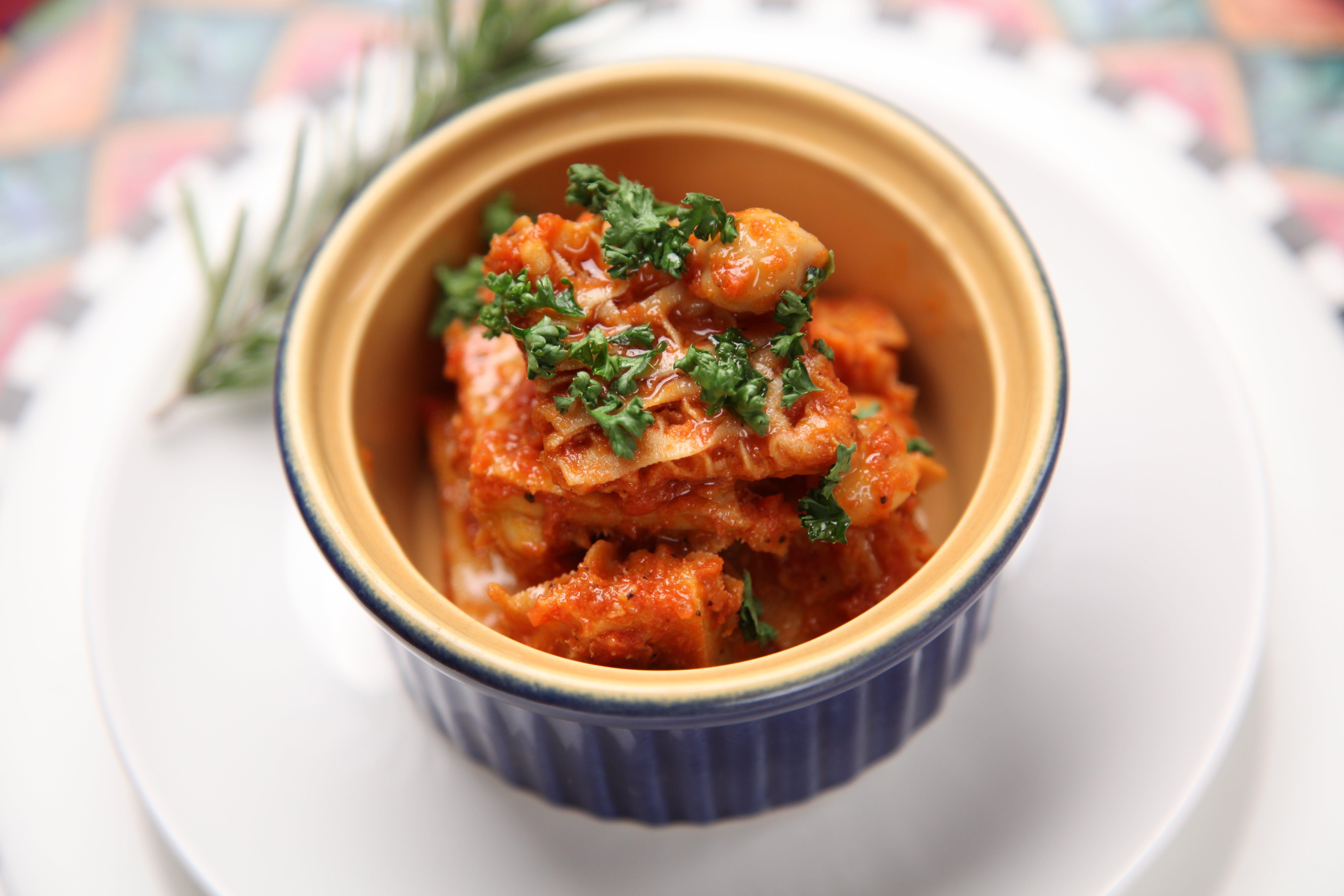 Kimchi Food in White and Blue Ramekin Bowl