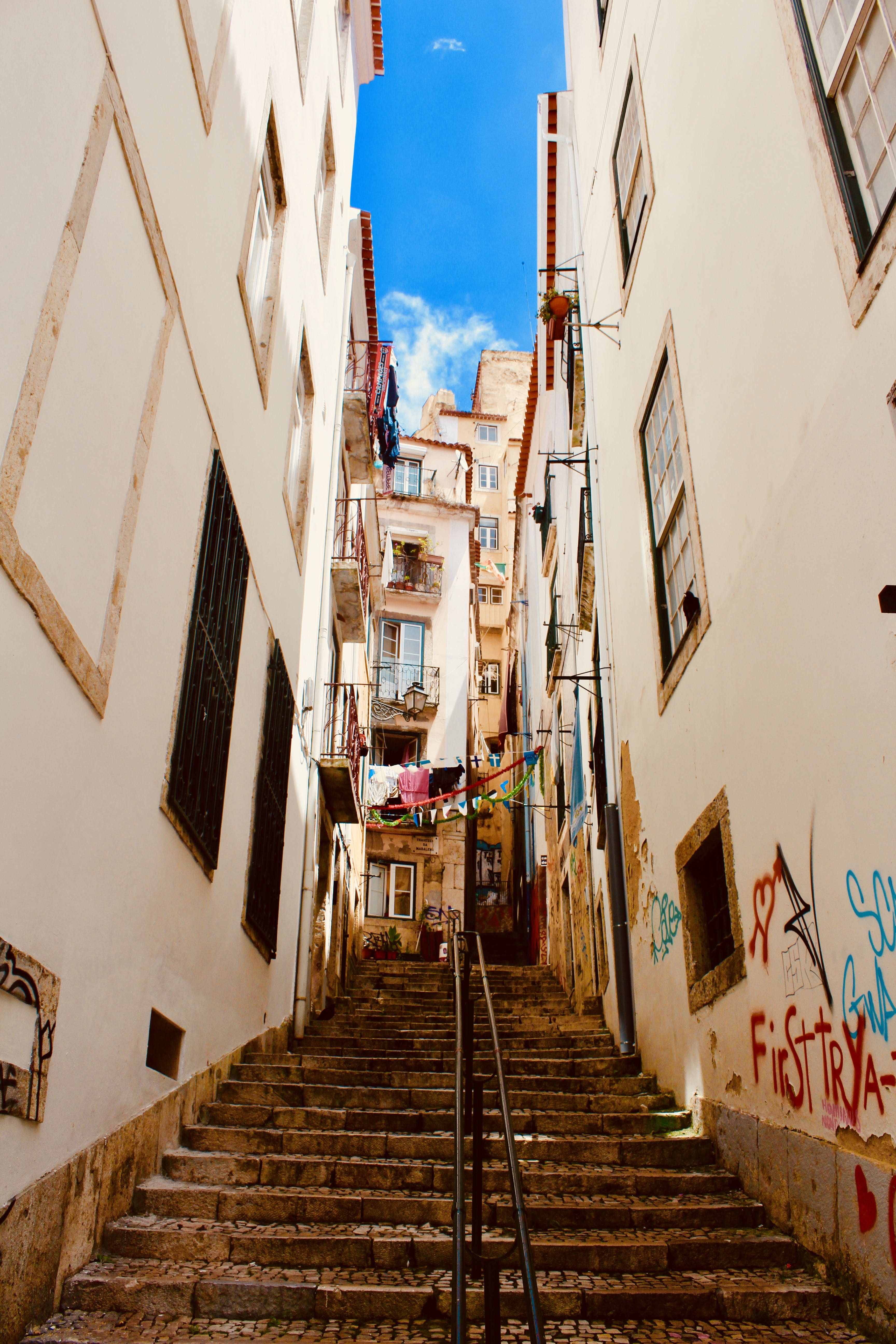 Two White Buildings and Stairs