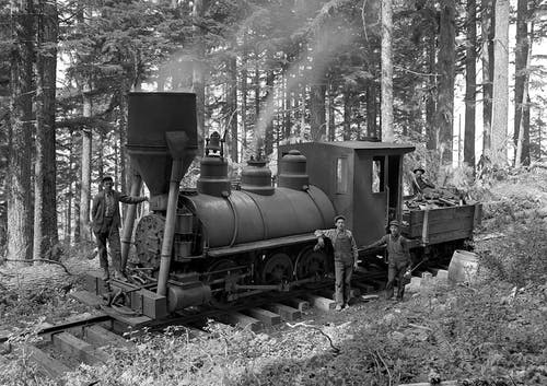 Greyscale Photography of 3 Person Beside Train on Forest