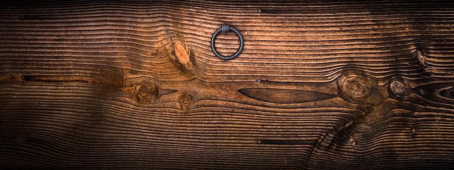Gray Metal Door Knocker on Wooden Panel