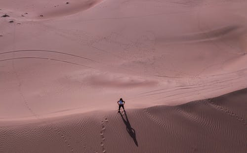 Man Stands on Desert