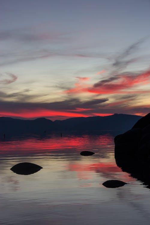 aube, ciel, coucher de soleil