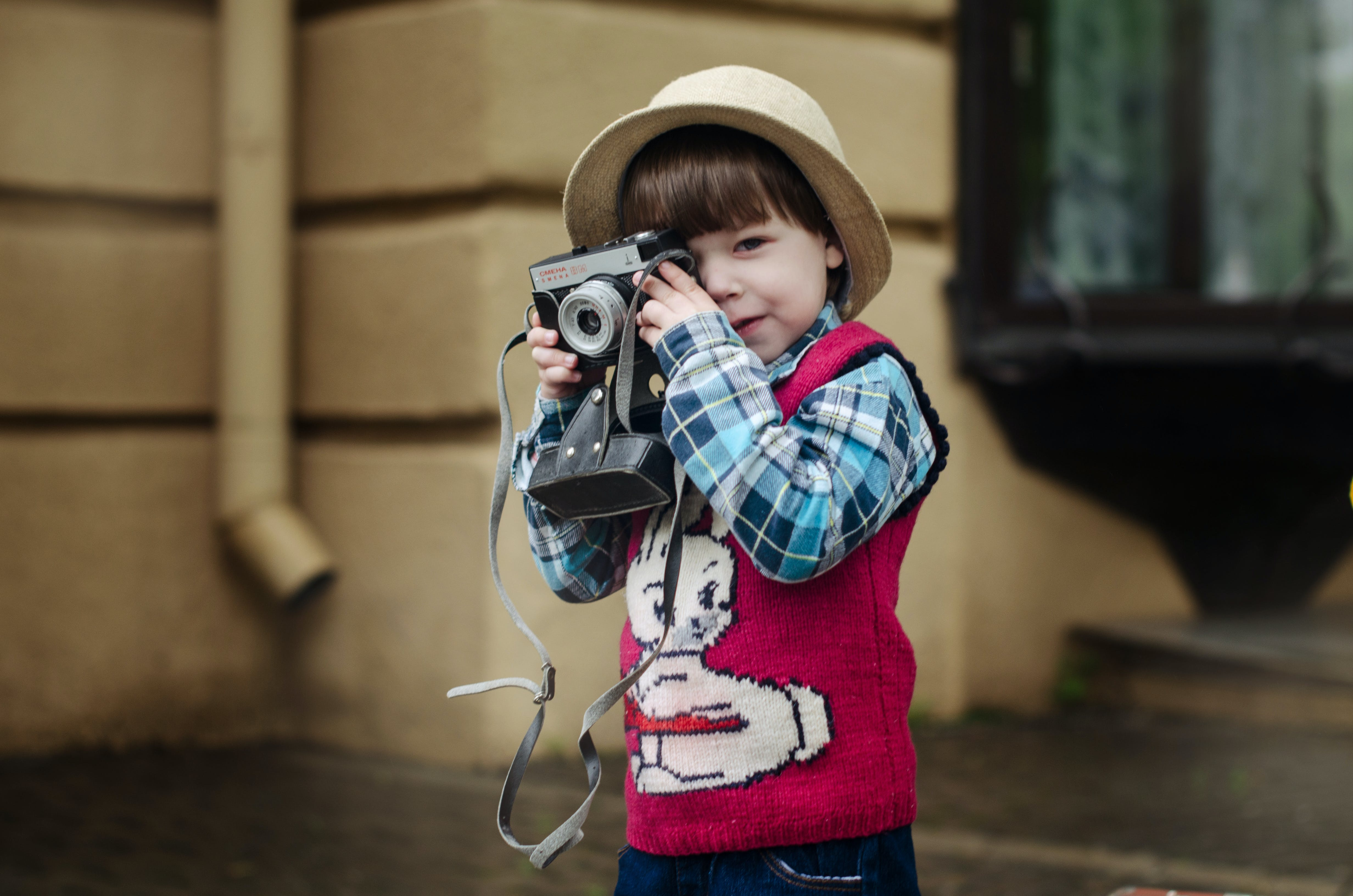 Toddler in Preppy Look Outfit Taking Photo
