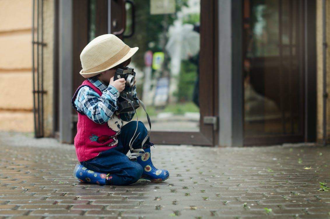 analogt kamera, aspirasjon, barn