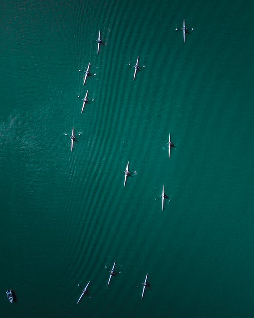 Aerial Photography of White Canoe Lot on Body of Water