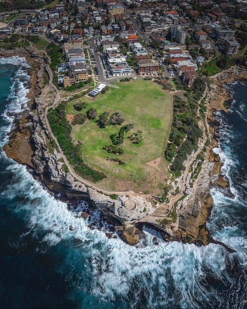 Fotobanka sbezplatnými fotkami na tému letecký záber, mesto, pobrežie, pohľad zvtáčej perspektívy